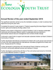 Ecologia Youth Trust Annual Review 2014 - 2015